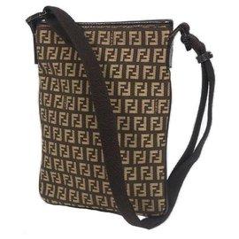 Fendi-FENDI Zucchino cross body Womens shoulder bag dark brown x beige-Beige,Dark brown