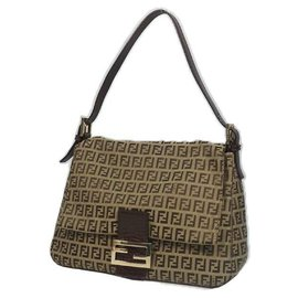 Fendi-FENDI Zucchino one shoulder Womens shoulder bag beige x brown-Brown,Beige