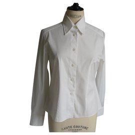 Chanel-CHANEL White fitted cotton shirt T42 FR very good condition-White