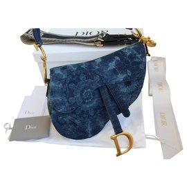 Dior-Dior Saddle KaleiDiorscopic bag-Blue,Golden,Dark blue