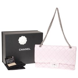 Chanel-Splendid Chanel handbag 2.55 Reissue 227 in pink quilted leather, Garniture en métal argenté, In very beautiful condition!-Pink
