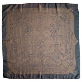 Hermès-Silk scarves-Brown