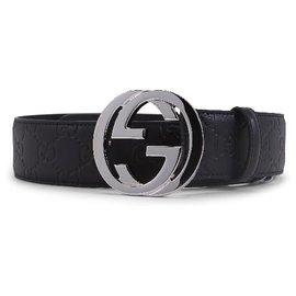 Gucci-Gucci Black Leather Interlocking Guccissima Belt Size 85-Black
