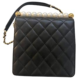 Chanel-Chanel Flap Bag with pearls-Black