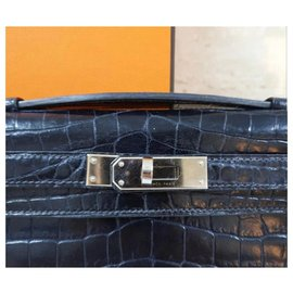 Hermès-Hermès Kelly Cut Crocodile Black Bag-Black