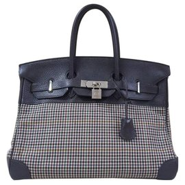 Hermès-HERMES BIRKIN 35 Clemence Leather and Houndstooth Canvas-Multiple colors