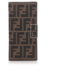Fendi-Fendi Brown Zucca Canvas Wallet-Brown
