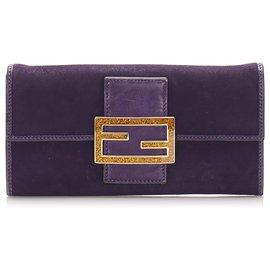 Fendi-Fendi Purple Suede Leather Long Wallet-Golden,Purple