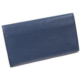 Louis Vuitton-Louis Vuitton Blue Epi Porte Tresor International Long Wallet-Blue