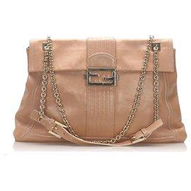 Fendi-Fendi Orange Maxi Baguette Leather Flap Bag-Orange