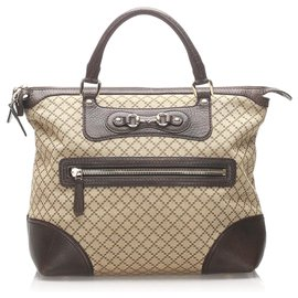 Gucci-Gucci Brown Diamante Horsebit Catherine Tote Bag-Marron,Beige,Marron foncé