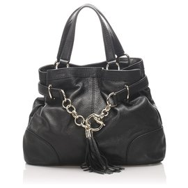 Gucci-Gucci Sac cabas en cuir noir Sienna Bit-Noir