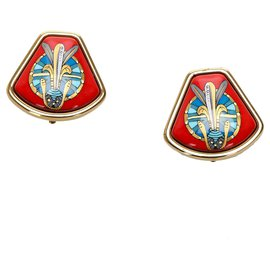 Hermès-Hermes Red Enamel Clip On Earrings-Red,Golden