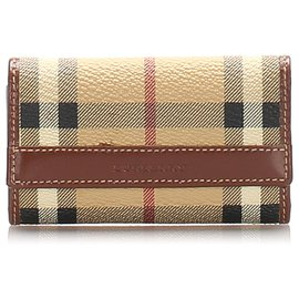 Burberry-Burberry Brown House Check Leather Key Holder-Brown,Multiple colors,Beige