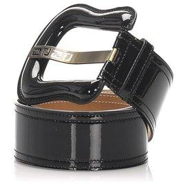 Fendi-Fendi Black Patent Leather Belt-Black,Silvery