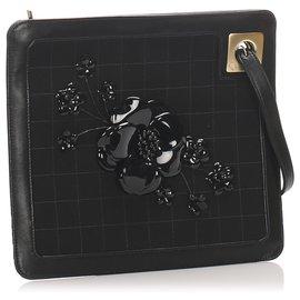 Chanel-Chanel Black Choco Bar Camellia Suede Clutch Bag-Black
