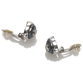 Chanel-Chanel Silver CC Earrings-Silvery,Other,Grey