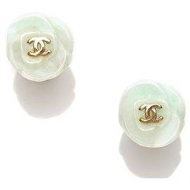 Chanel-Chanel White CC Camellia Earrings-White,Golden