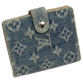 Louis Vuitton-Louis Vuitton Blue Monogram Denim Mini Agenda-Blue,Other