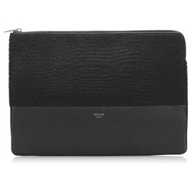 Céline-Celine Black Leather Pouch-Black