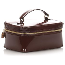 Gucci-Gucci Brown Bamboo Patent Leather Vanity Bag-Brown