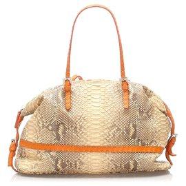 Fendi-Fendi Brown Selleria Python Leather Shoulder Bag-Brown,Beige,Orange