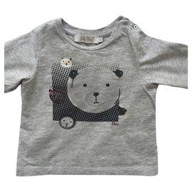 Christian Dior-T-shirt bébé en coton gris-Gris