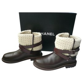 Chanel-CHANEL MOKA T leather boots37 IT-Brown