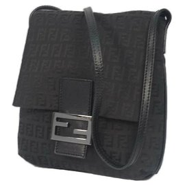Fendi-FENDI Zucchino cross body Womens shoulder bag black-Black
