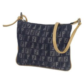 Fendi-FENDI Zucchino cross body Womens shoulder bag Navy-Navy blue
