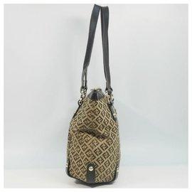 Fendi-FENDI Zucchino shoulder Womens tote bag beige x brown-Brown,Beige