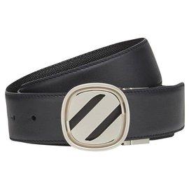 Ermenegildo Zegna-ERMENEGILDO ZEGNA calf leather Belt-Black,Navy blue