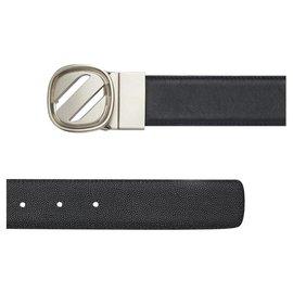 Ermenegildo Zegna-ZEGNA calf leather Belt-Black,Navy blue