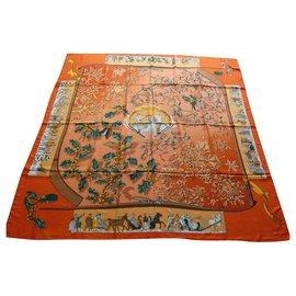 Hermès-chale hermès snow of yesteryear 140x140 cashmere / silk-Orange