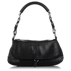 Prada-Prada Black Leather Baguette-Black
