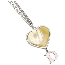 Dior-Dior Silver D Logo Heart Shell Necklace-Silvery