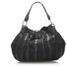Prada-Prada Black Tessuto Nappa Waves Hobo Bag-Black