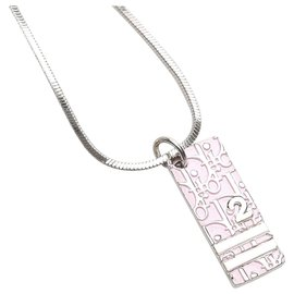 Dior-Dior Pink Dior Oblique Trotter Pendant Necklace-Silvery,Pink