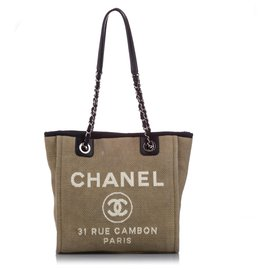 Chanel-Chanel Brown Large Deauville Canvas Tote Bag-Brown,Black,Beige