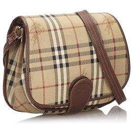 Burberry-Burberry Brown Haymarket Check Crossbody Bag-Brown,Multiple colors,Beige