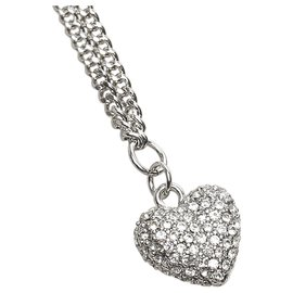 Dior-Dior Silver Heart Pave Stone Necklace-Silvery