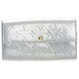 Louis Vuitton-Louis Vuitton Gray Vernis Sarah Long Wallet-Grey