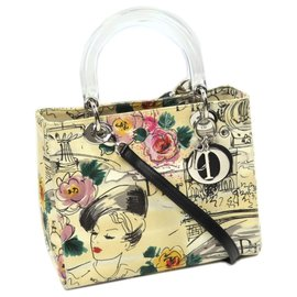 Dior-Dior Yellow Lady Dior Printed Canvas Satchel-Multiple colors,Yellow