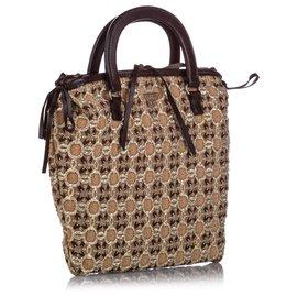 Prada-Prada Brown Cotton Handbag-Brown,Black,Beige
