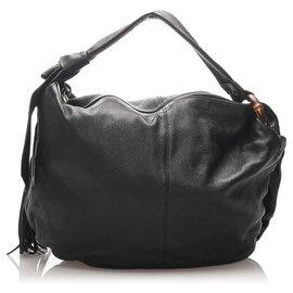 Gucci-Gucci Black Bamboo Jungle Leather Hobo Bag-Black
