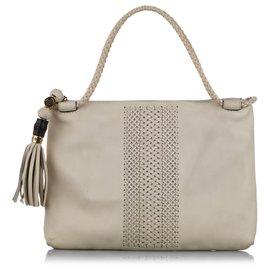 Gucci-Gucci White Handmade Leather Shoulder Bag-White