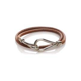 Hermès-Hermes Brown Jumbo Hook Leather Bracelet-Brown,Golden