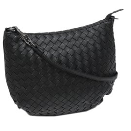 Bottega Veneta-Bottega Veneta Black Intrecciato Leather Shoulder Bag-Black