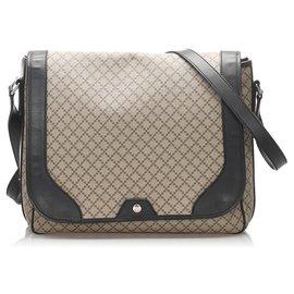 Gucci-Gucci Brown Diamante Coated Canvas Crossbody Bag-Brown,Black,Beige