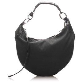 Gucci-Gucci Black Half Moon Canvas Shoulder Bag-Black